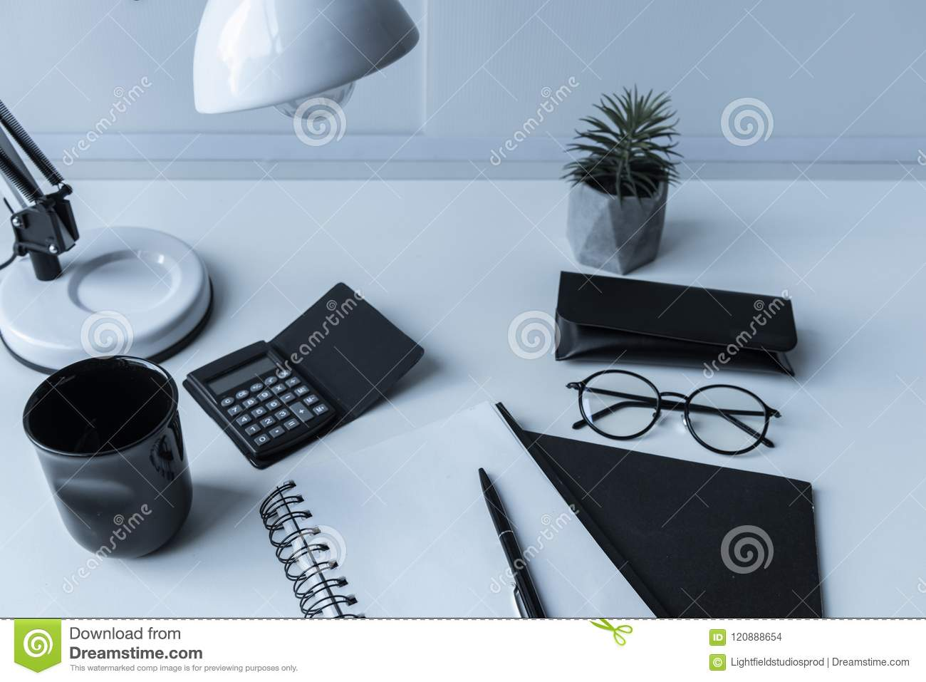 working place with table lamp