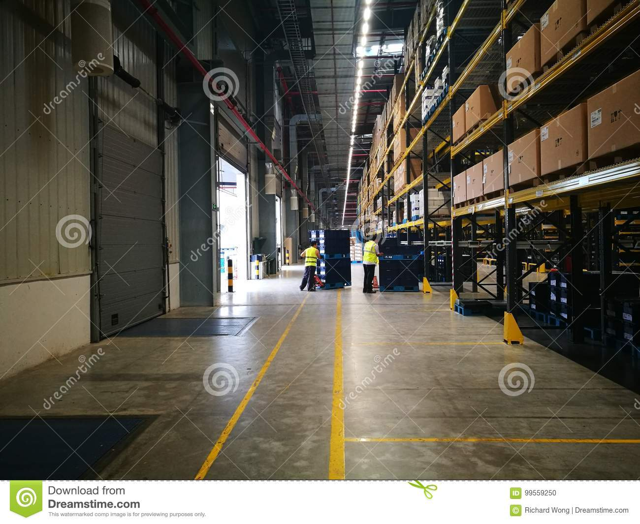 working place in warehouse