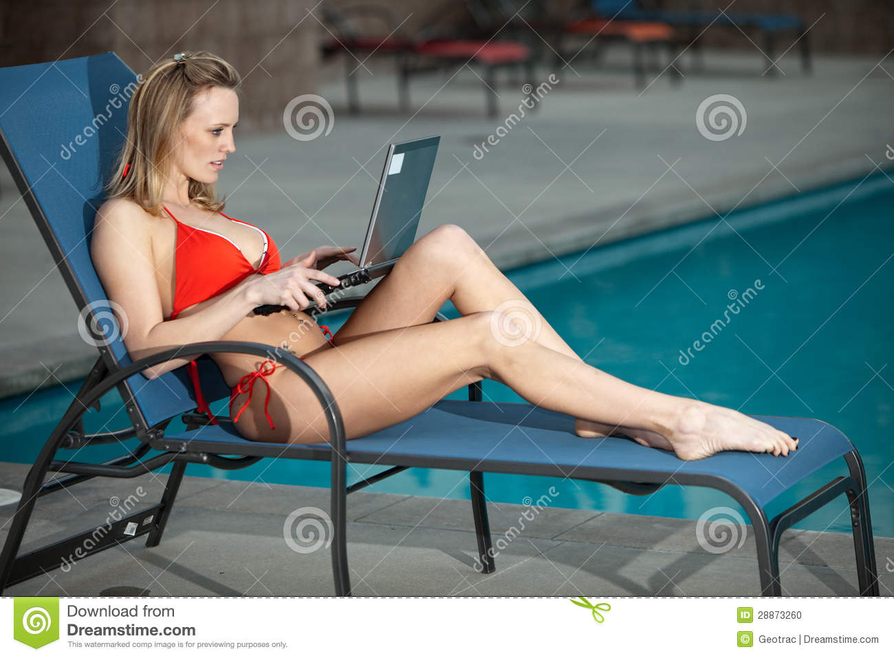 Working By The Pool Stock Photo Image 28873260