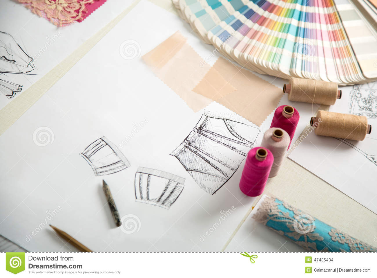 Working In Progress Tailor Table Stock Photo Image