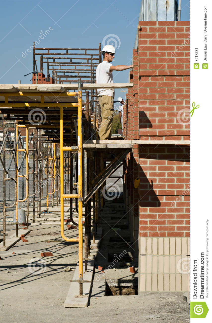 Working On Scaffolding : Working from scaffolding stock image