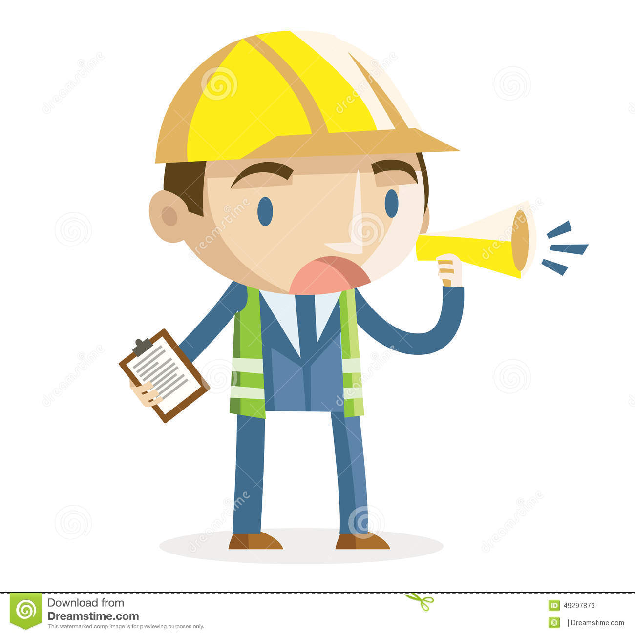 Construction Manager Cartoon : A working supervisor stock vector illustration of flat