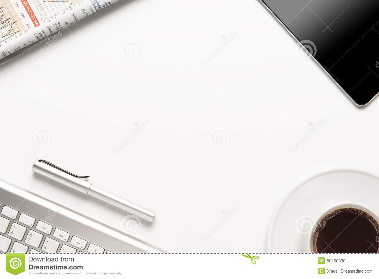 Working On Table With Office Supplies Stock Photo - Image ...