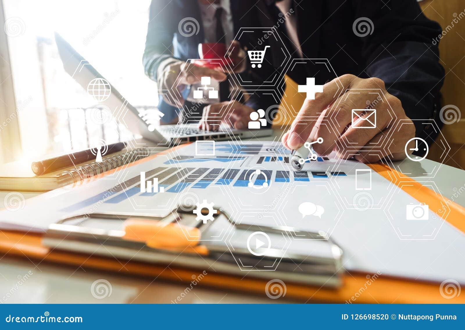 Working Team Meeting Concept, Businessman Using Smart Phone