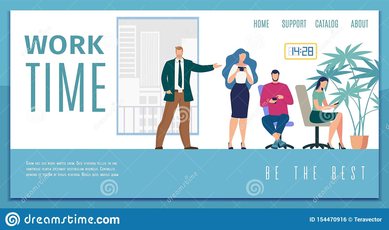 Working Time Efficiency Flat Vector Web Banner