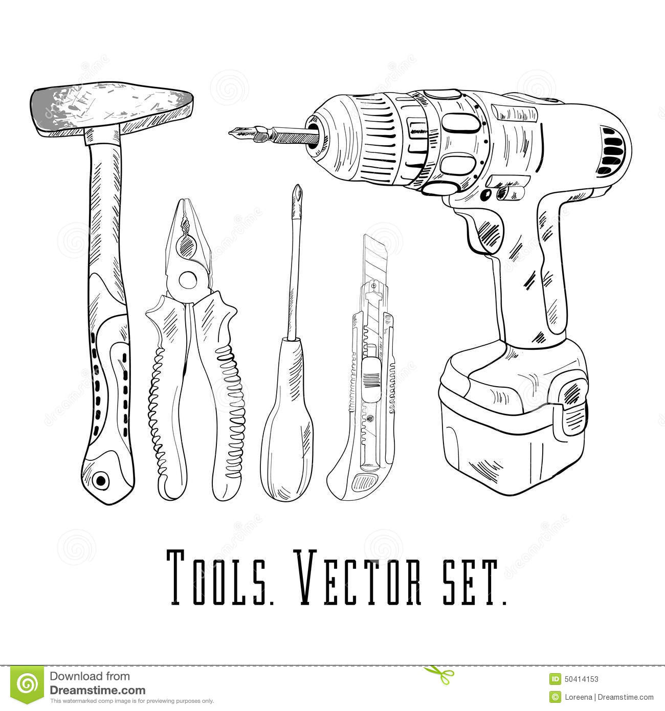 Working tools icon set stock vector image 50414153 for Draw tool free