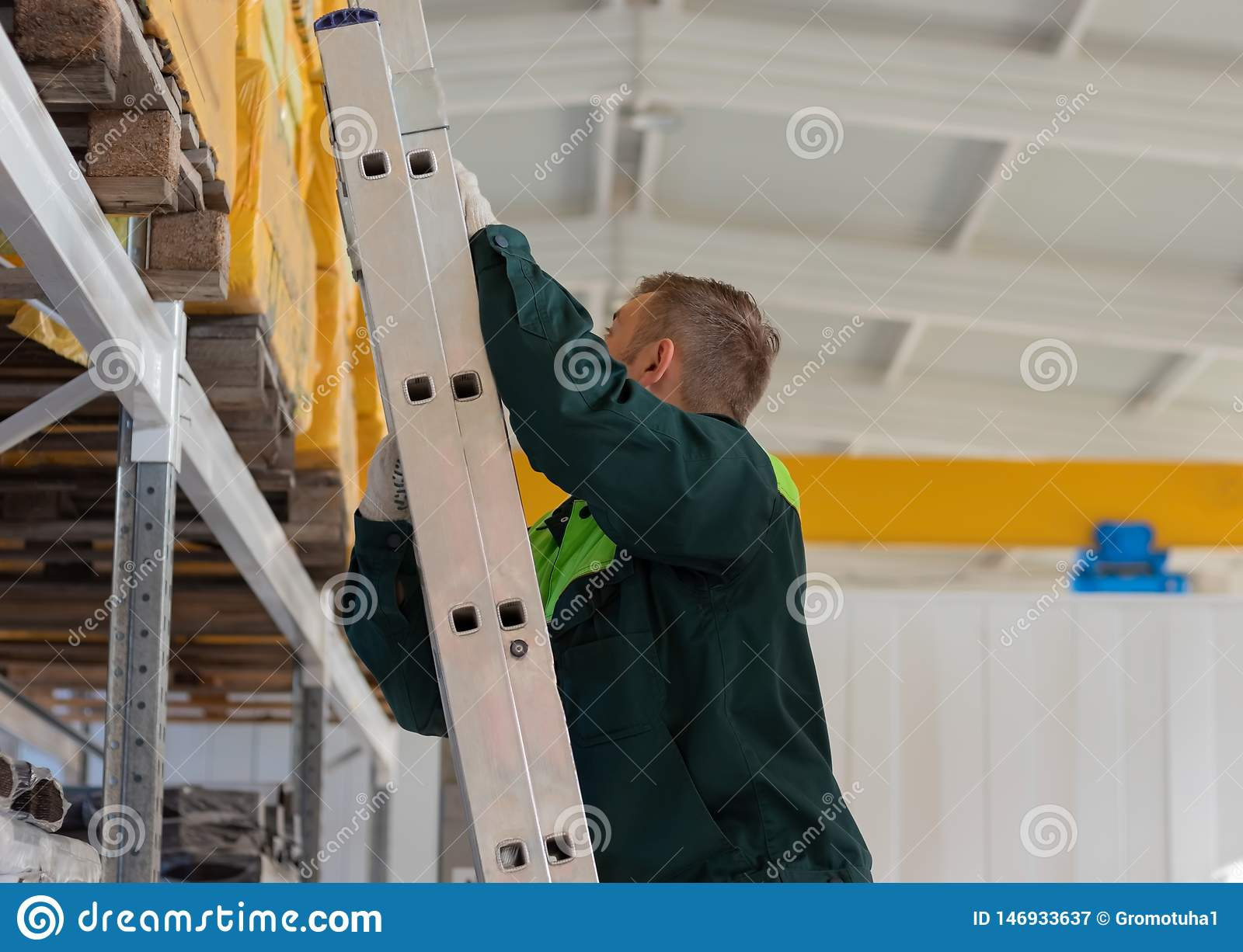 Working in the warehouse up the stairs