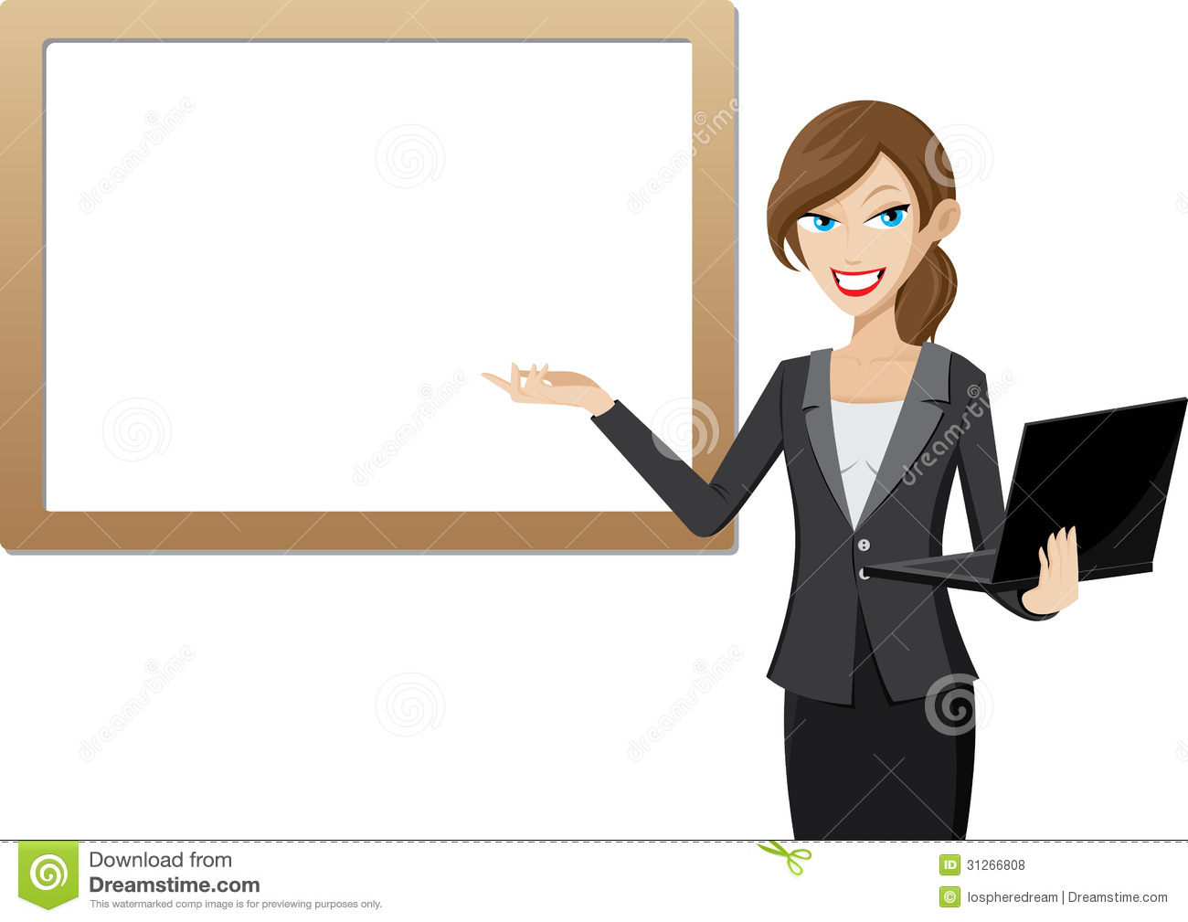 working woman presentation with whiteboard and computer laptop