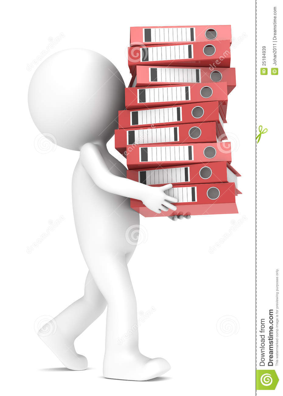 3D little human character carrying a large pile of Ring Binders. Red ...: www.dreamstime.com/royalty-free-stock-images-workload-image25184939