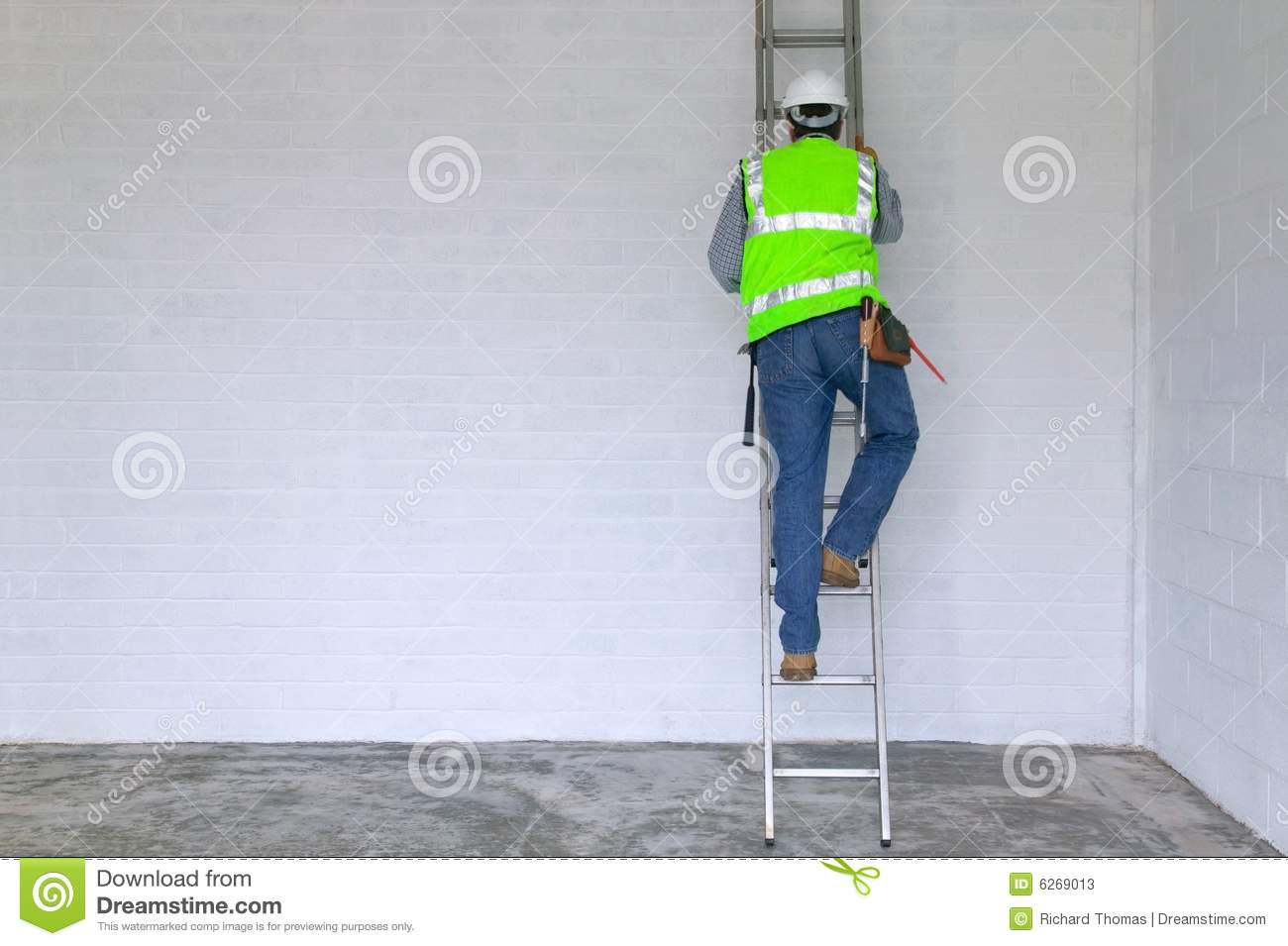 Workman climbing a ladder stock image. Image of extendable - 6269013 for Worker Climbing Ladder  568zmd