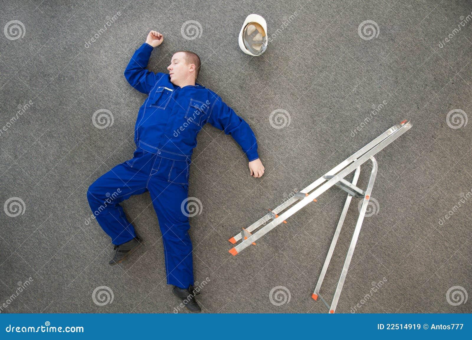 Workman fallen off ladder