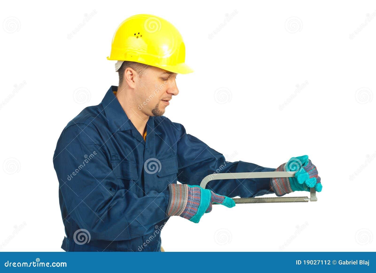 Workmanen som fungerar med, såg