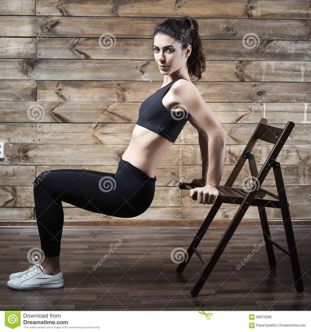 Woman Pilates Chair Exercises Fitness Stock Photo: Workout Exercises At Home To Lose Weight. Woman Training