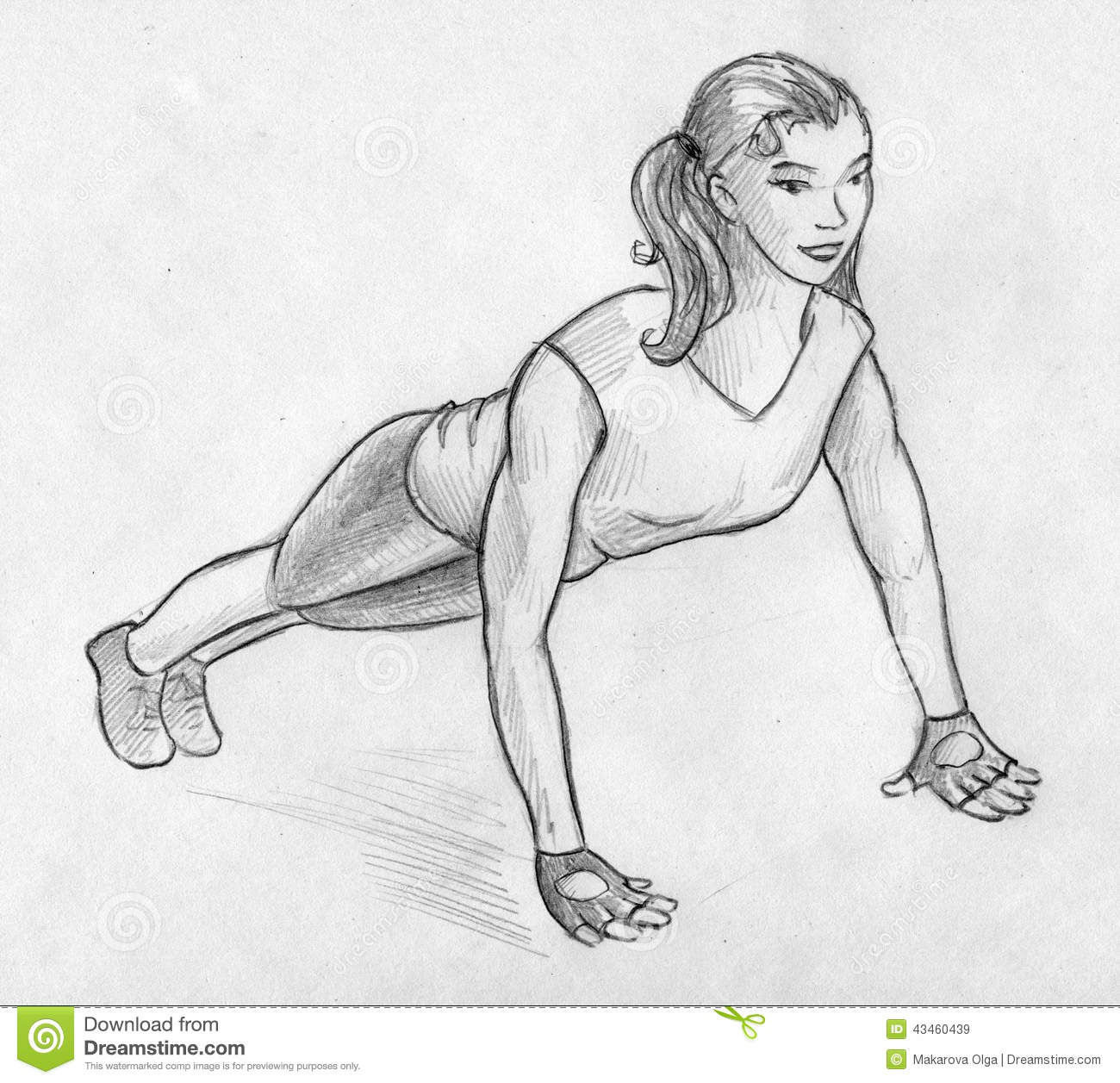 ... girl doing workout exercise on the floor. Hand drawn pencil sketch