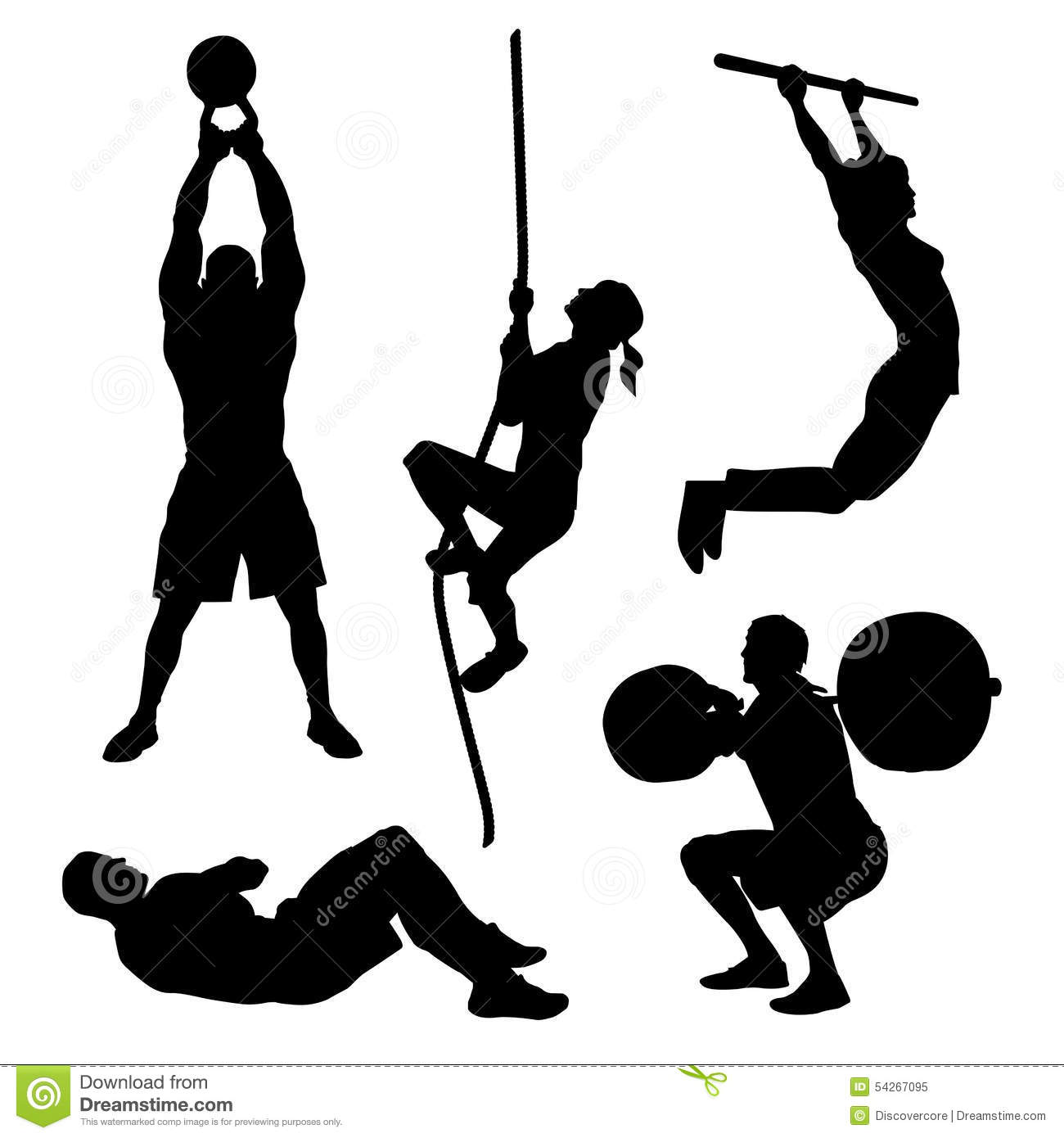 Collection of fitness icons featuring common olympic, weightlifting ...