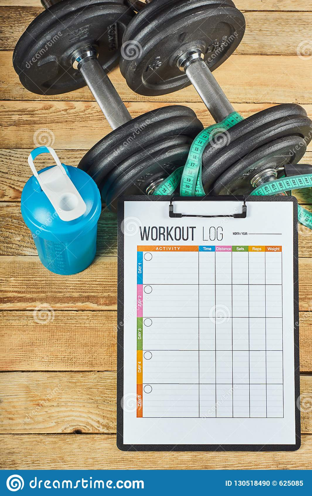 workout log sheet stock photo image of diet health 130518490
