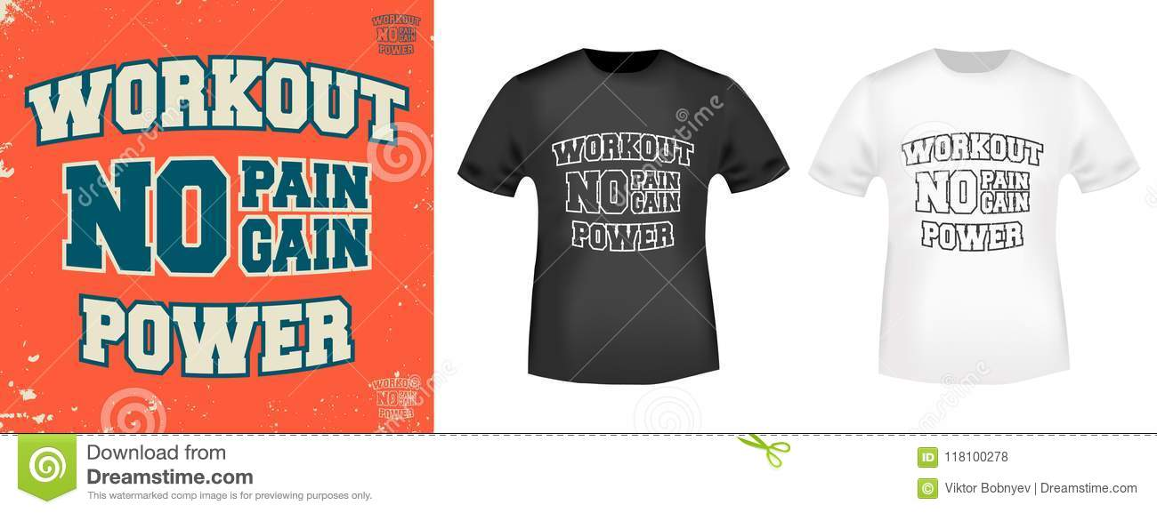 Workout Power T Shirt Print Stamp No Pain