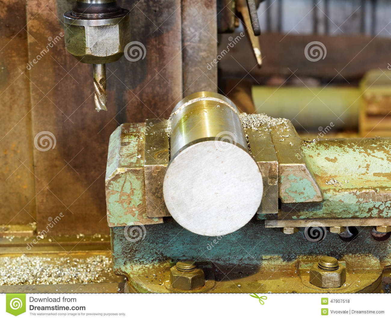 workpiece and drill of boring machine close up stock photo image 47907518. Black Bedroom Furniture Sets. Home Design Ideas