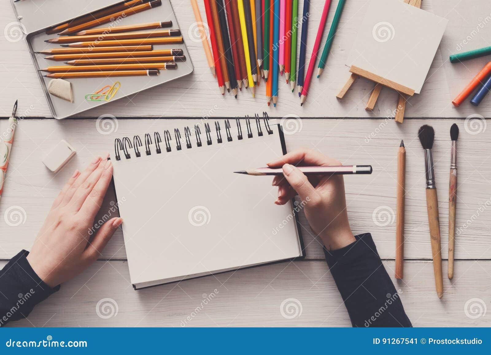 Beautiful Artist Desk Top View Flat Lay Desktop And Inspiration