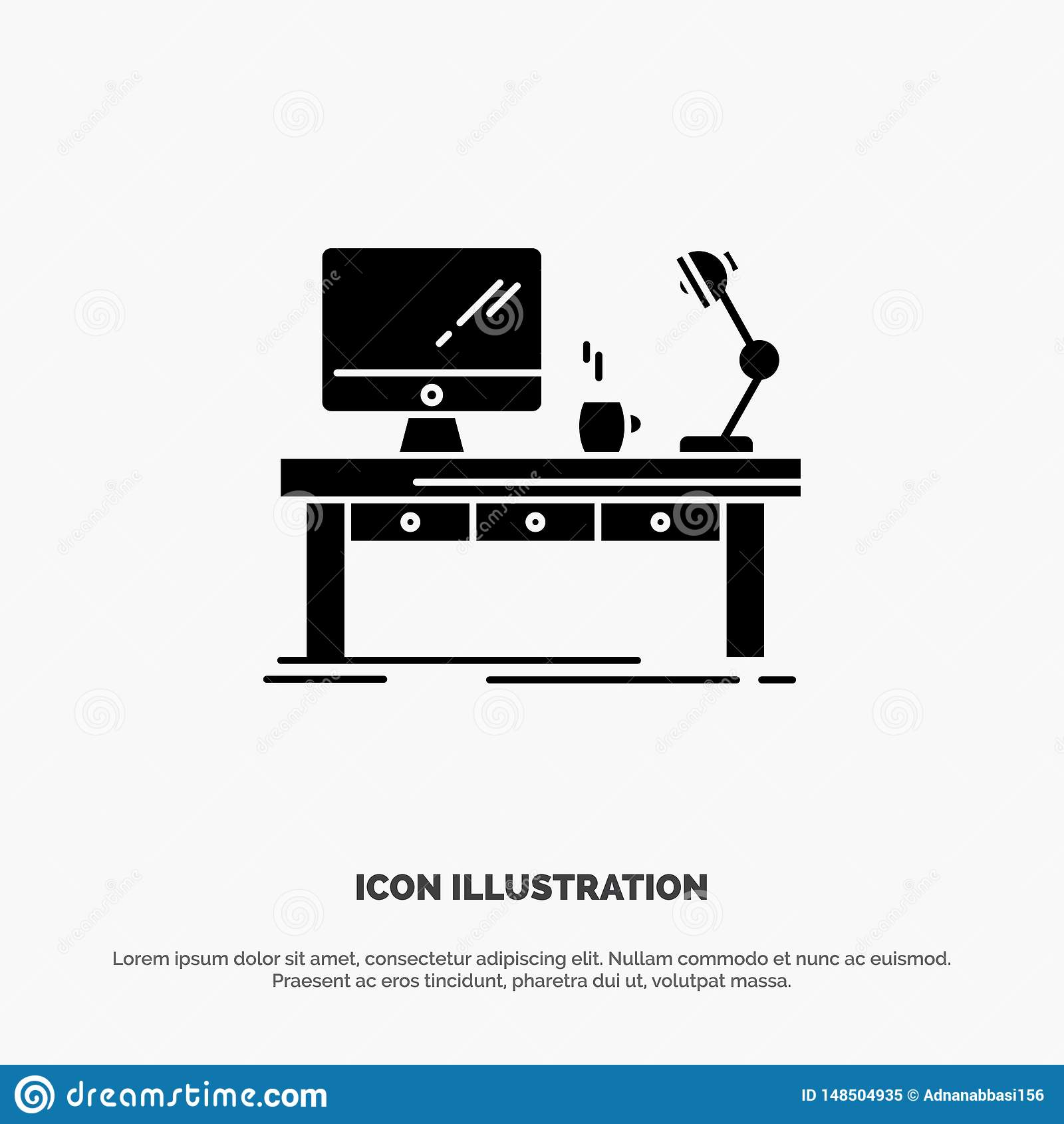 Workplace Business Computer Desk Lamp Office Table Solid Glyph Icon Vector Stock Vector Illustration Of Desk Home 148504935