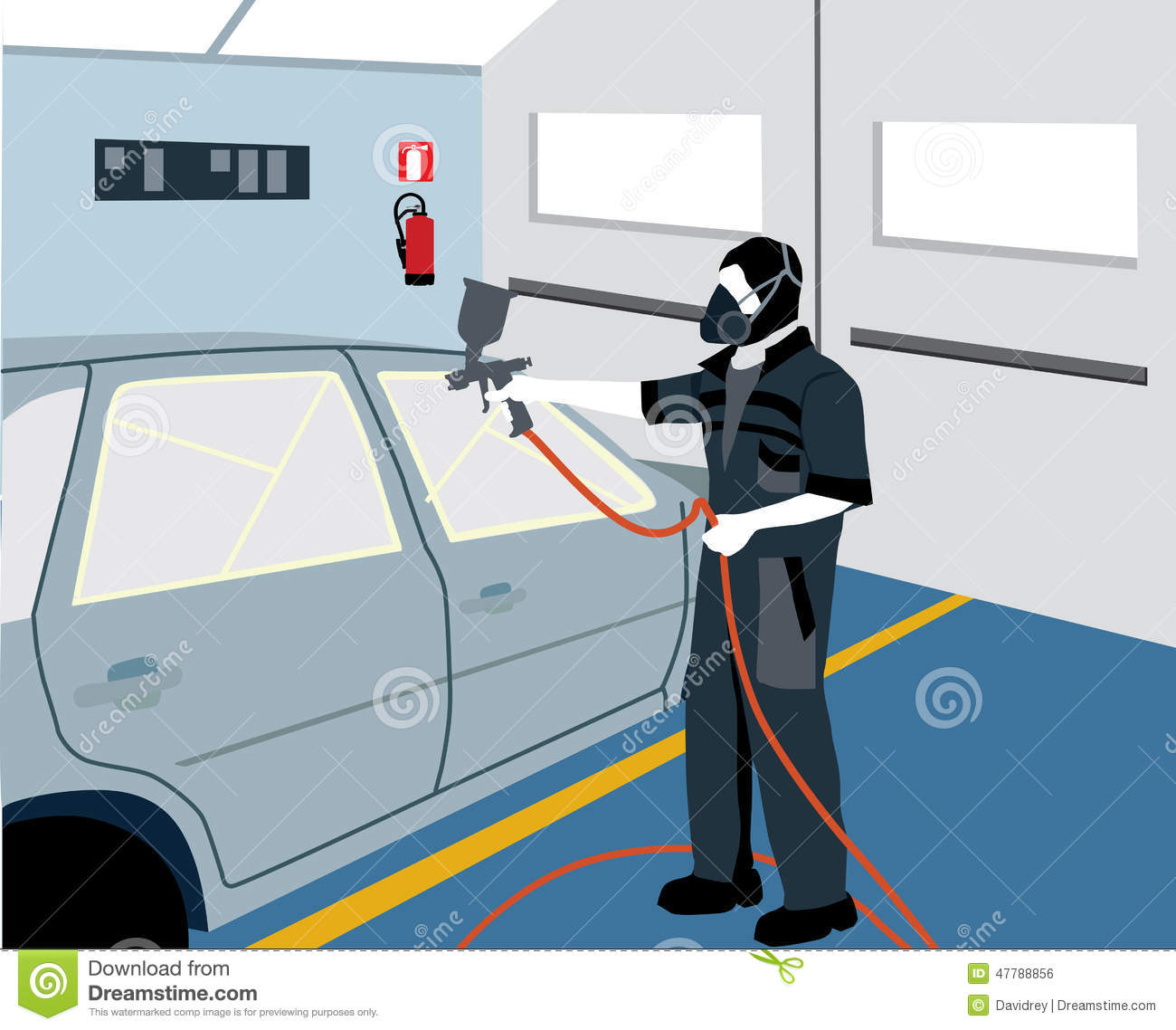 Workplace Car Painter Stock Vector
