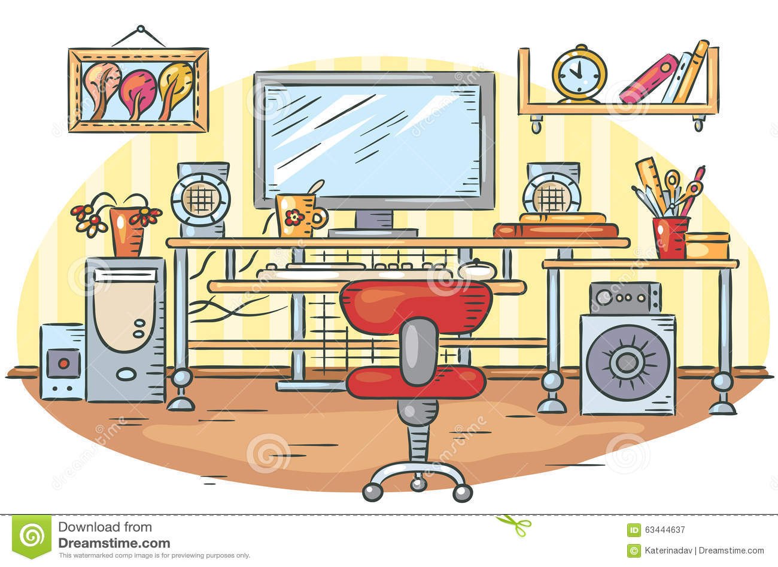 Workplace with a computer table stock vector for Cuarto desordenado