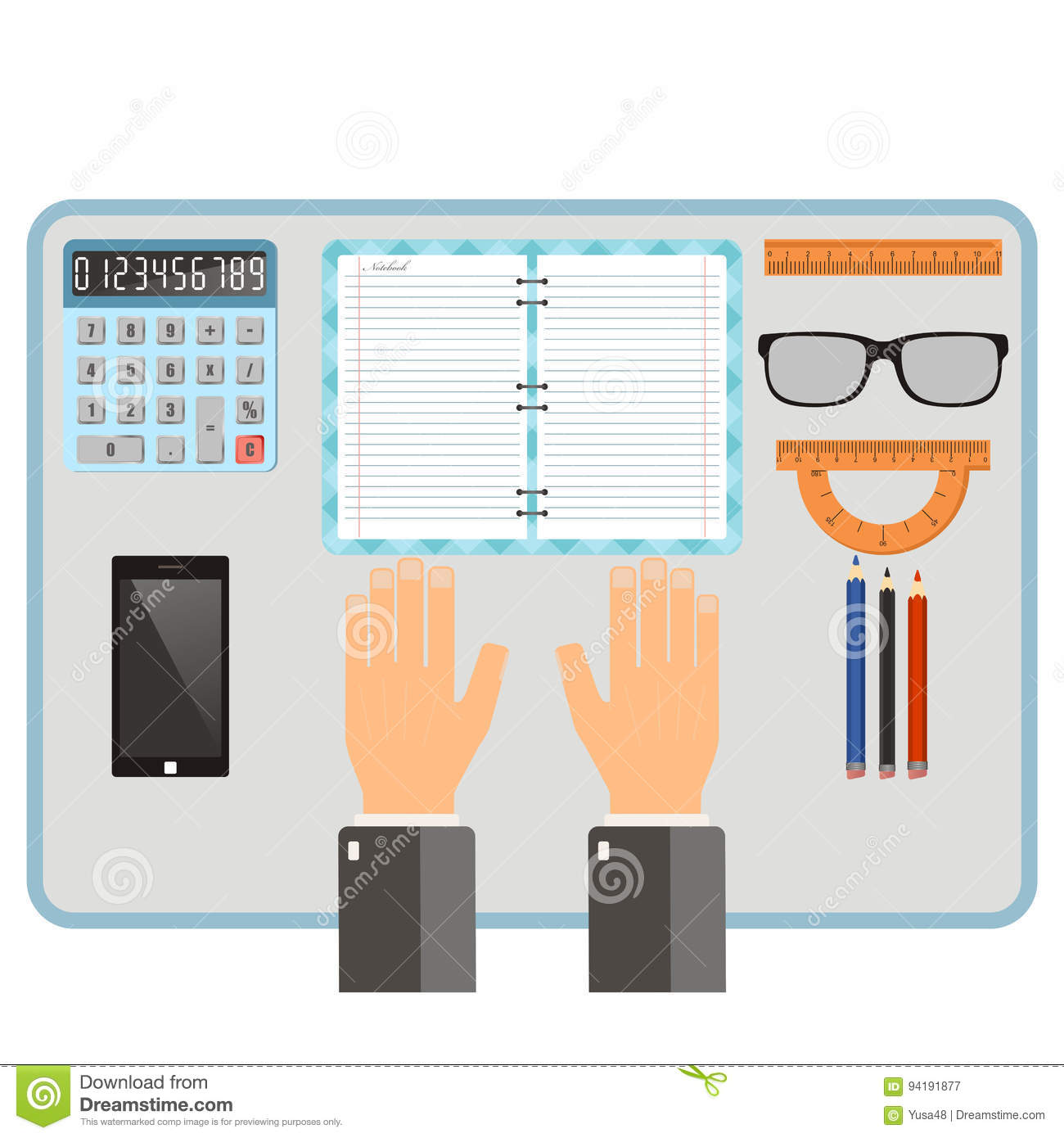 Workplace concept. Top view hands, notebook, pencil, mobile phone, supplies. Vector flat illustration.