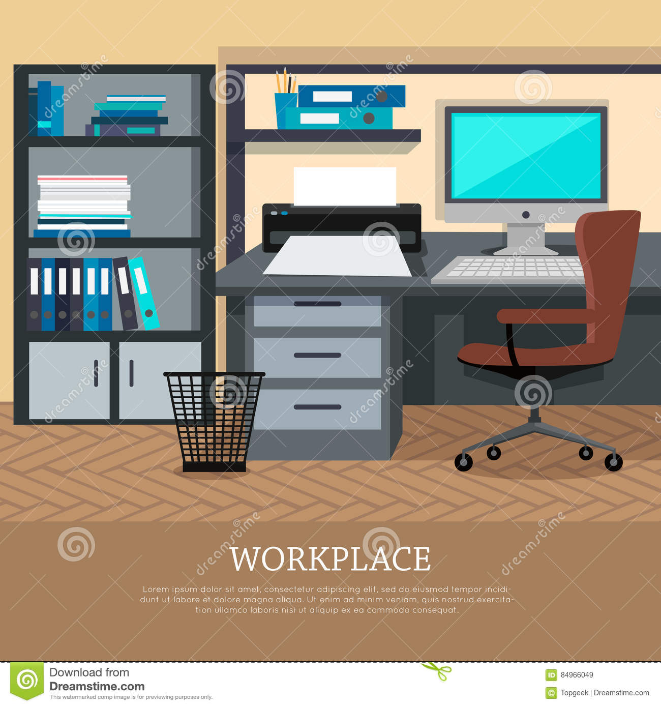 Workplace Concept Vector Web Banner In Flat Design Stock