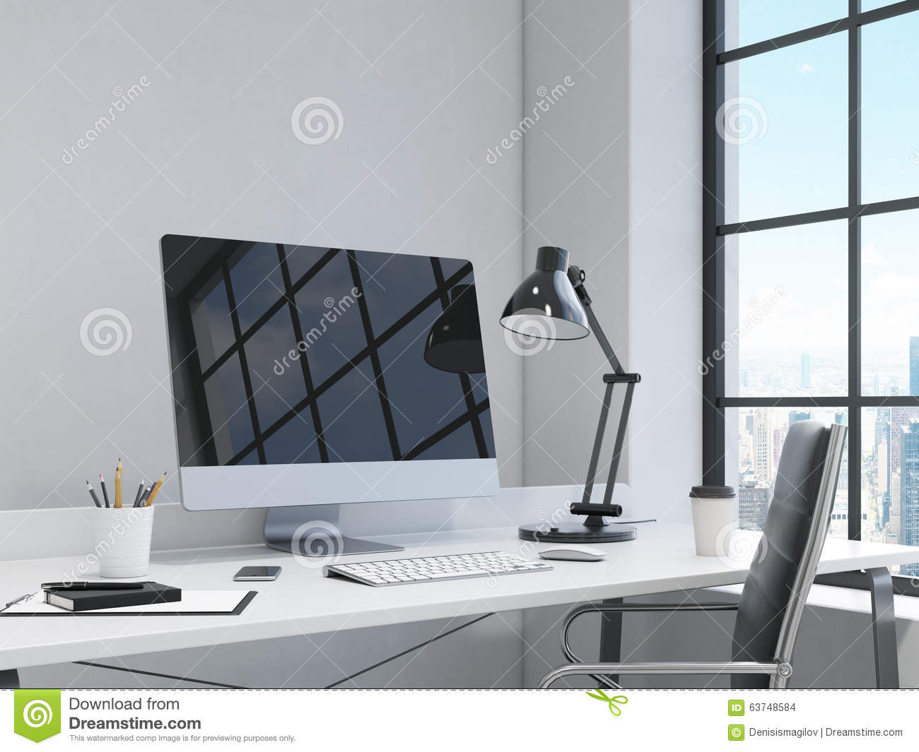 Workplace In The Corner Office Stock Illustration Illustration Of Desk Mouse 63748584