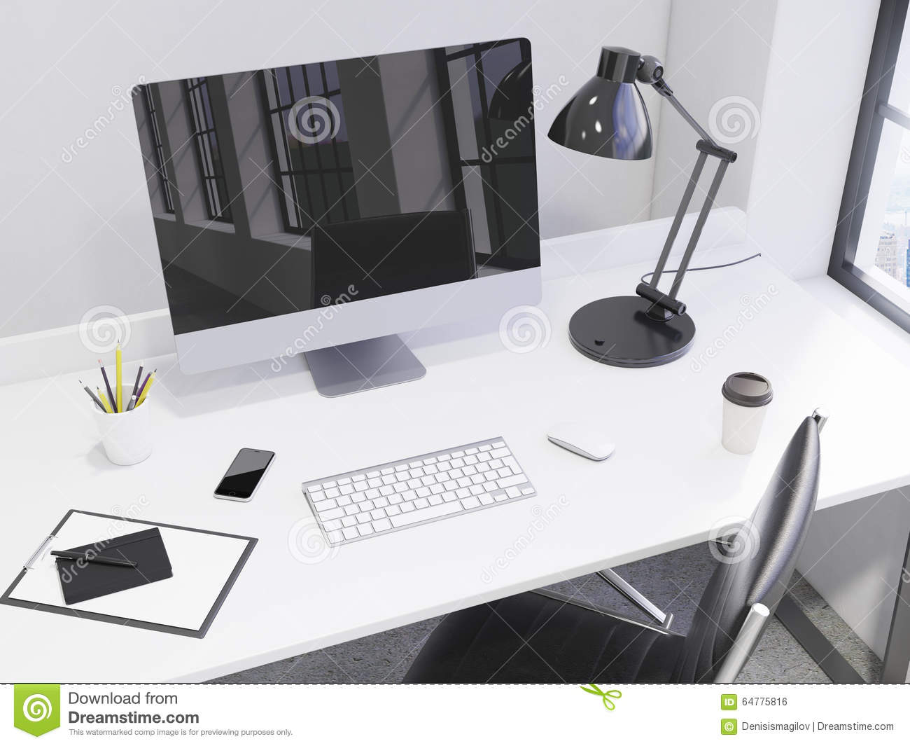Workplace In The Corner Office Stock Illustration Illustration Of Mouse Order 64775816