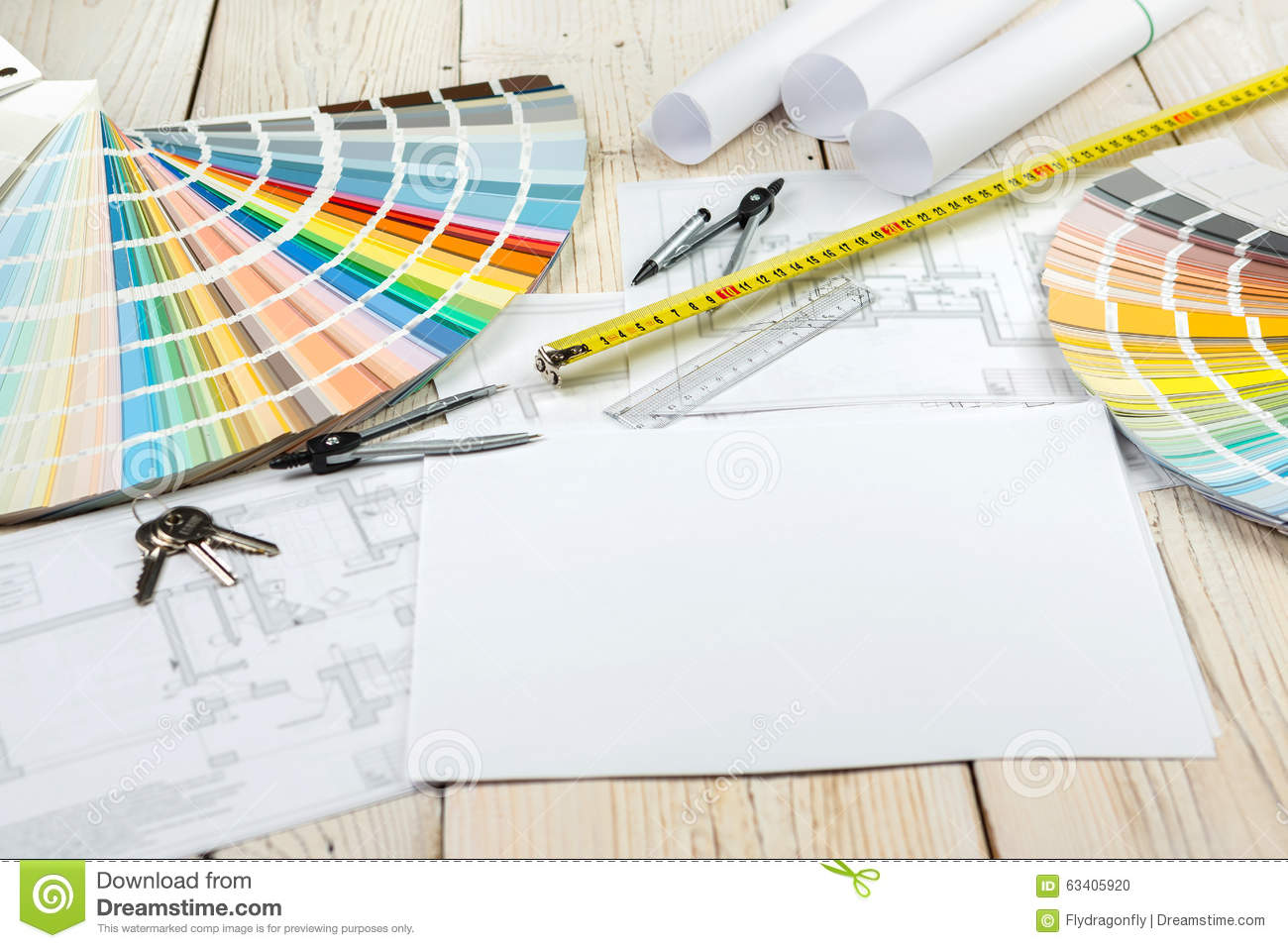 Workplace designer architect decorator stock photo image for Interior design color planner