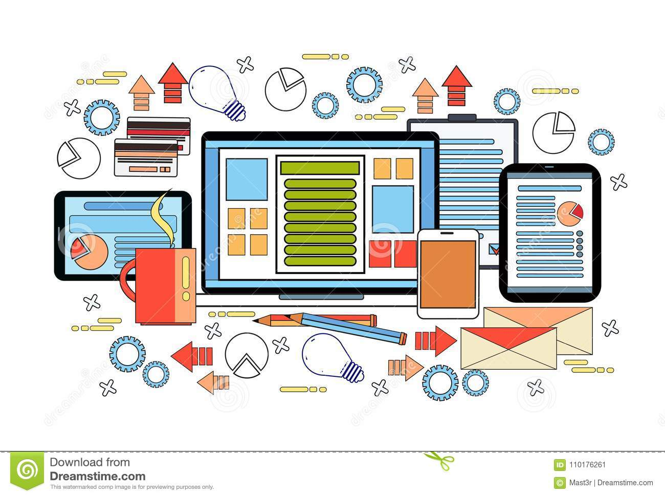 workplace desk concept business work desktop laptop computer diagrams documents digital tablets vector illustration 110176261 workplace desk concept, business work desktop with laptop computer