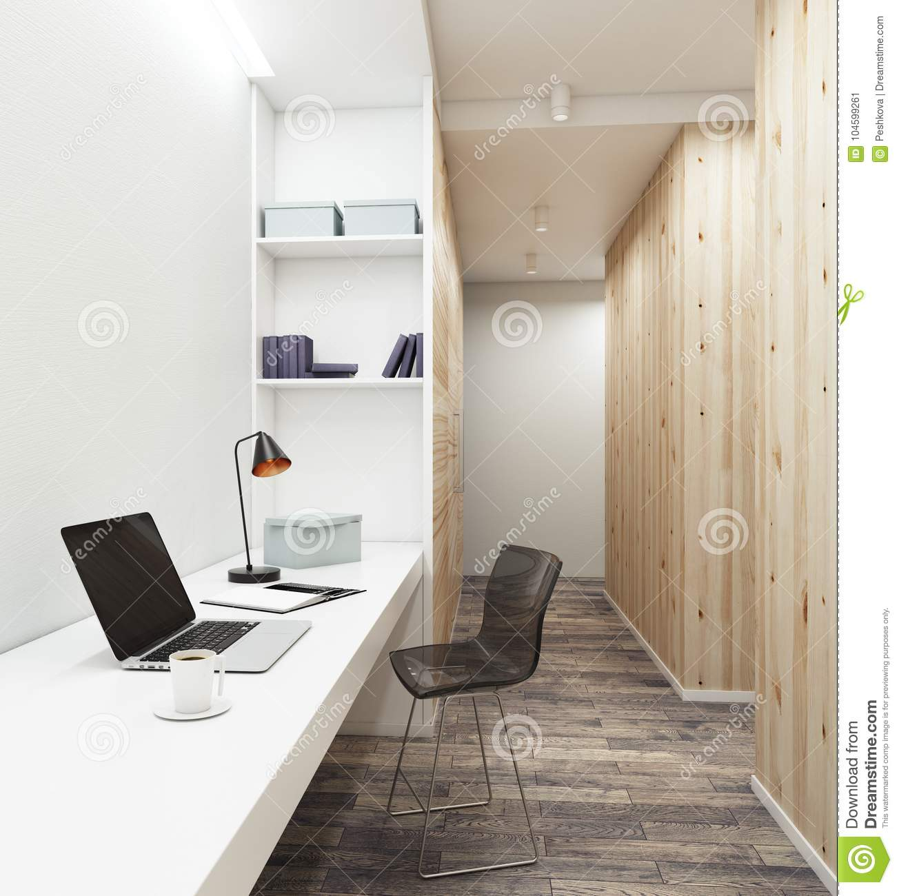 Workplace With Empty Laptop In Modern Interior Stock Illustration