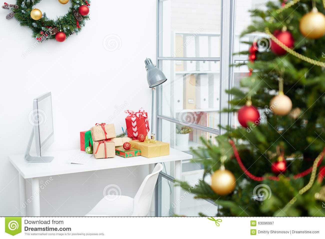 Workplace with gifts stock image. Image of coniferous - 63096997