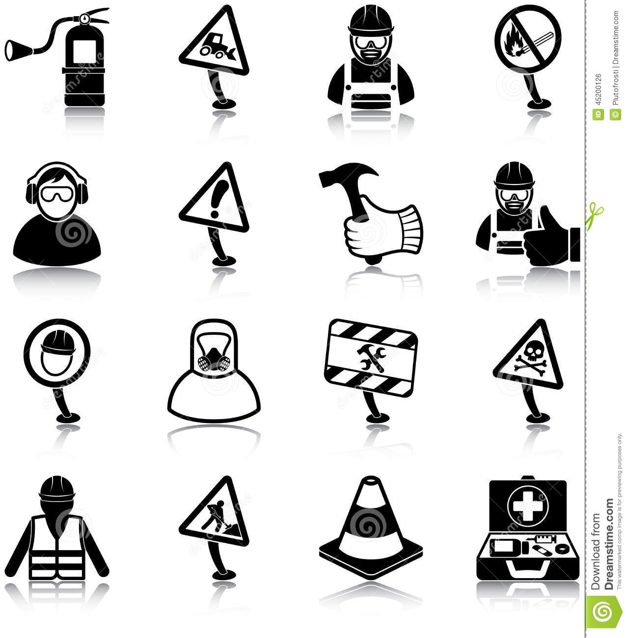 workplace health and safety icons stock vector illustration of