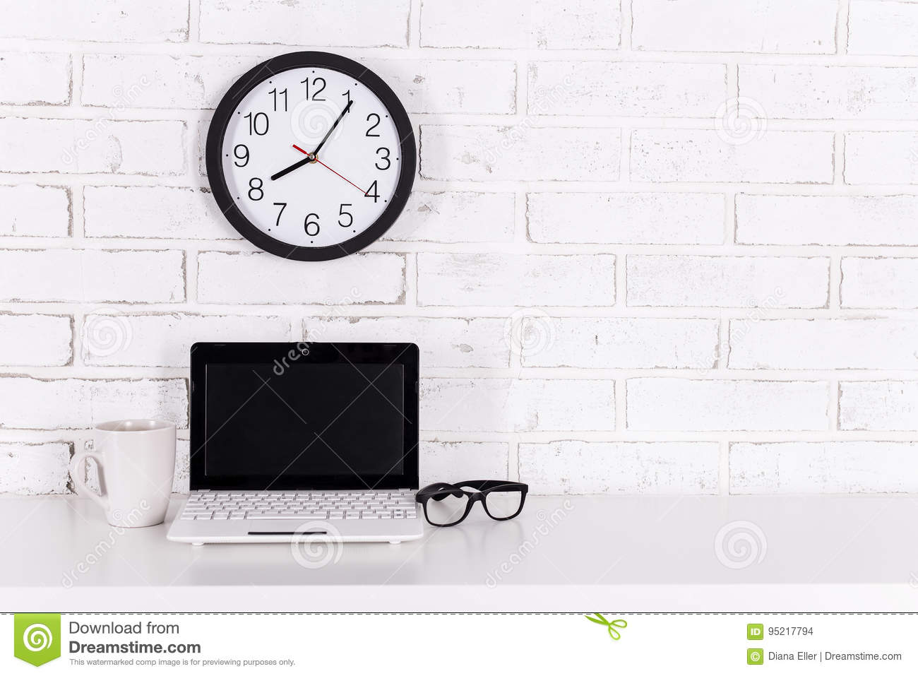 Workplace At Home Or In Office - Modern Laptop, Glasses, Cup Of ...
