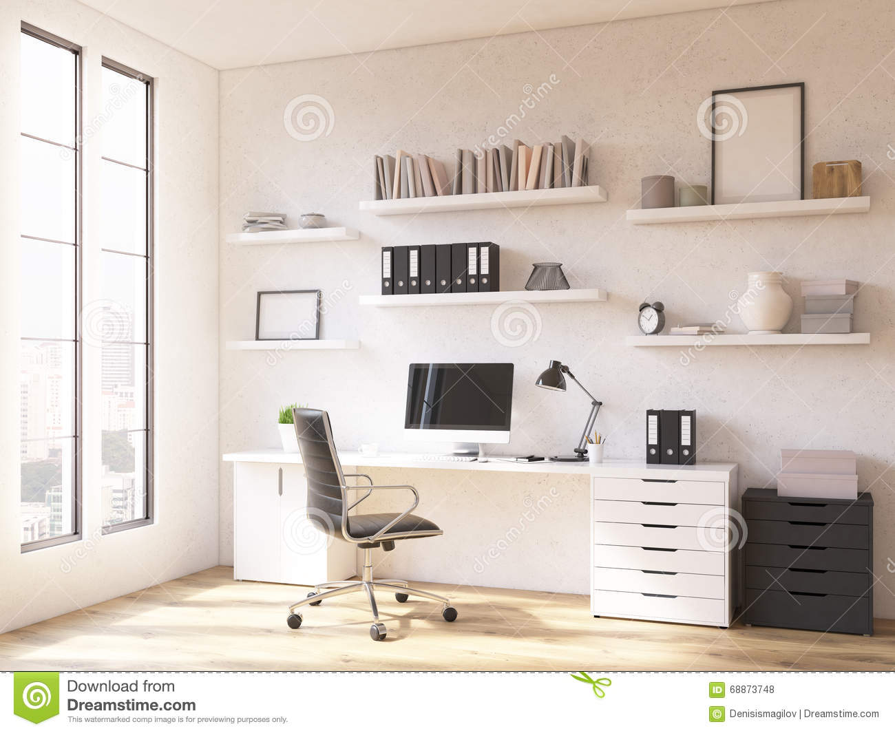Workplace at home stock illustration illustration of for Window up above