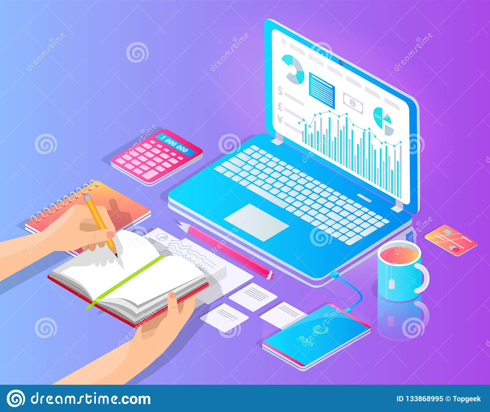 workplace with laptop and useful stuff on desktop vector banner  hands  writing in notebook, diagram and chart on gadget screen, pencil and  calculator