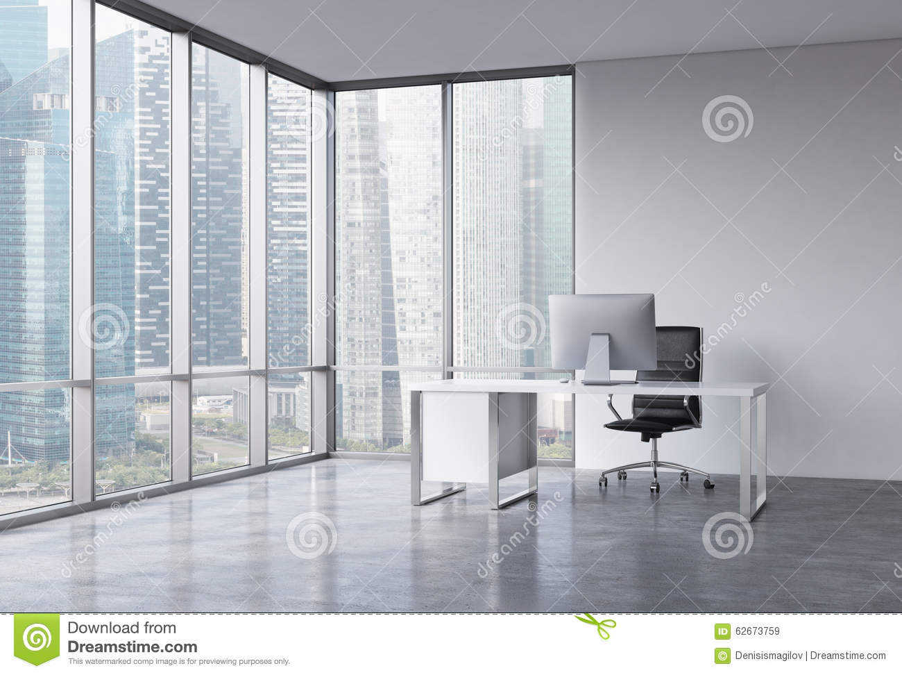 A Workplace In A Modern Corner Panoramic Office With Singapore View Stock Illustration Illustration Of Singapore Monitor 62673759