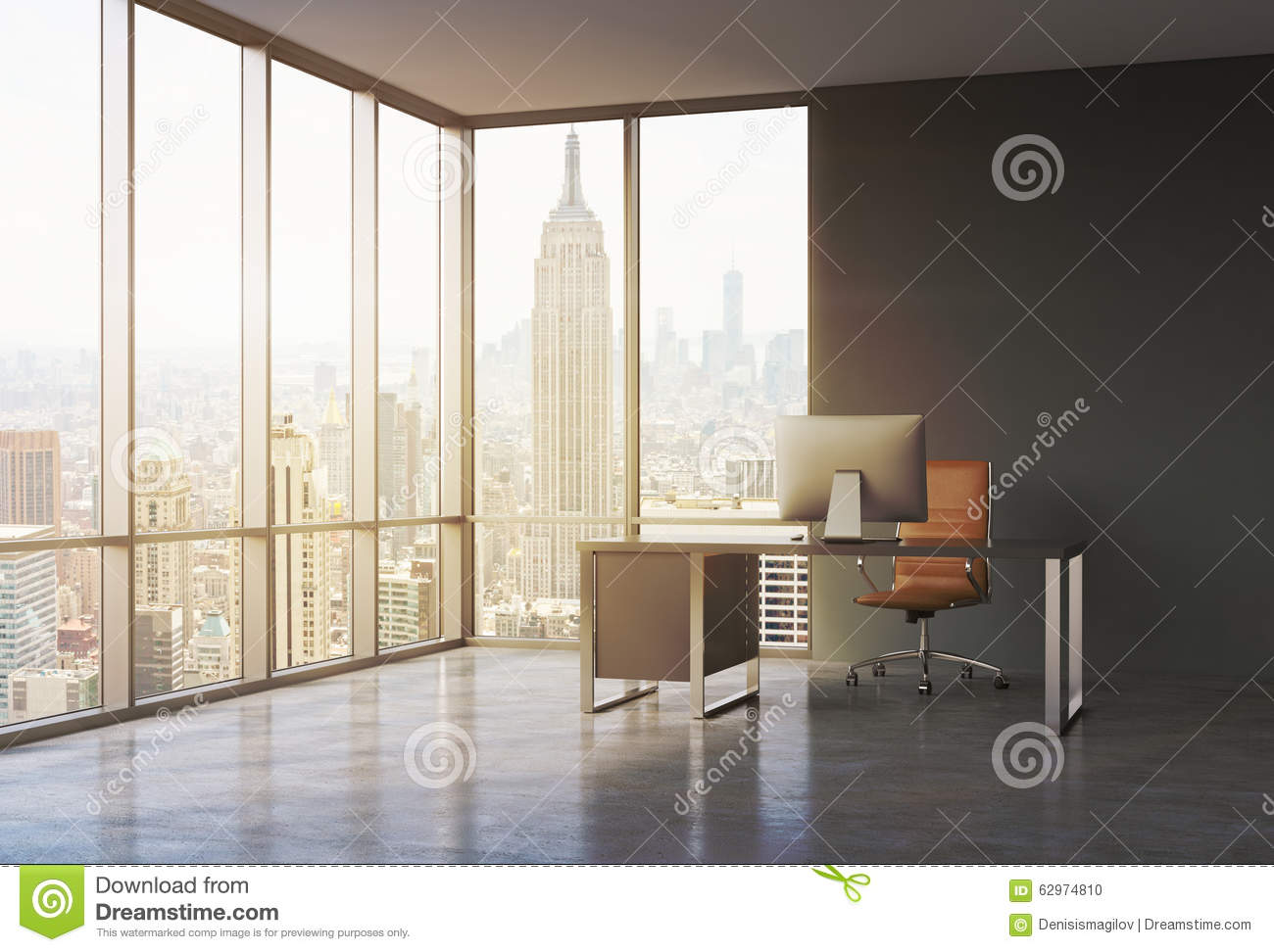 A workplace in a modern corner panoramic office with sunset New York view. A black desk with a modern computer and brown leather c