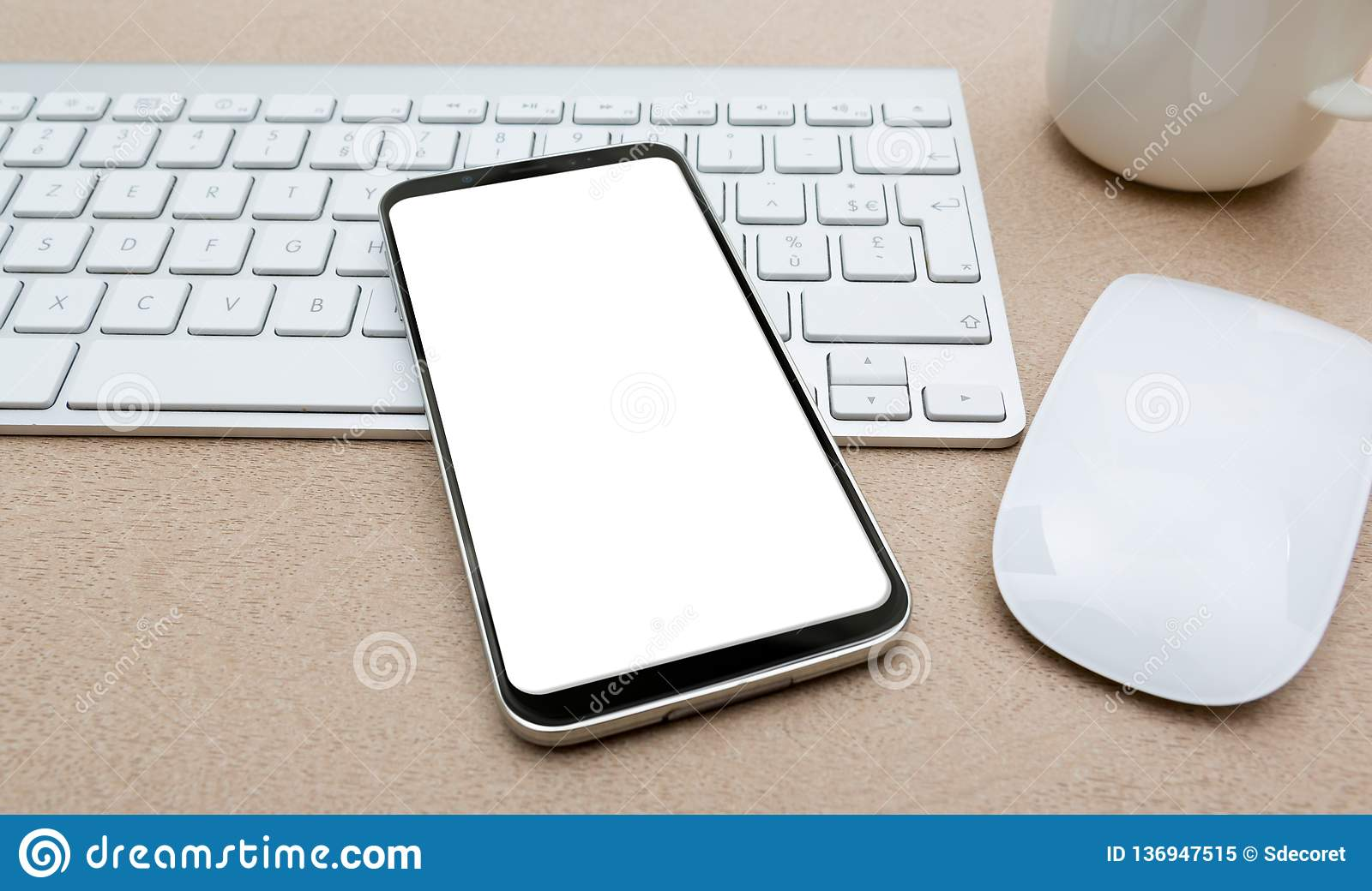 Workplace with modern mobile phone mockup