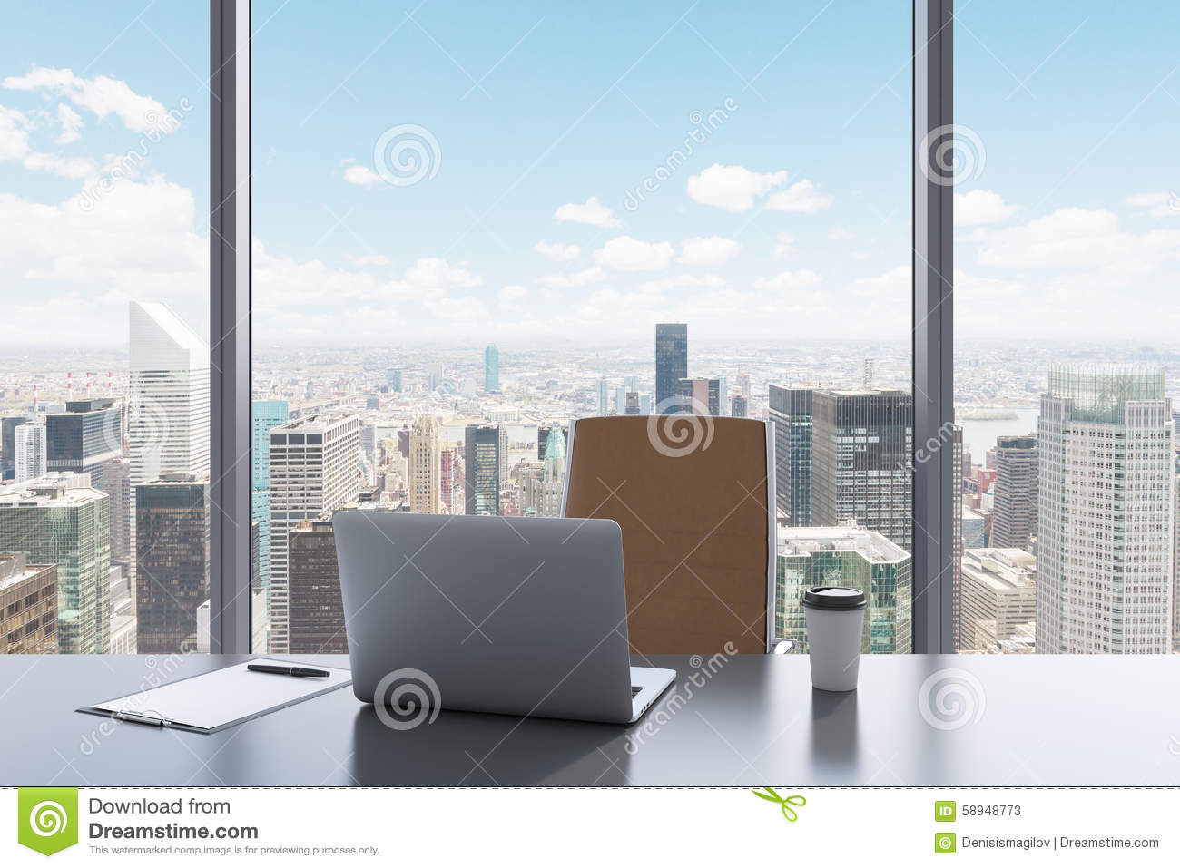 A Workplace In A Modern Panoramic Office With New York
