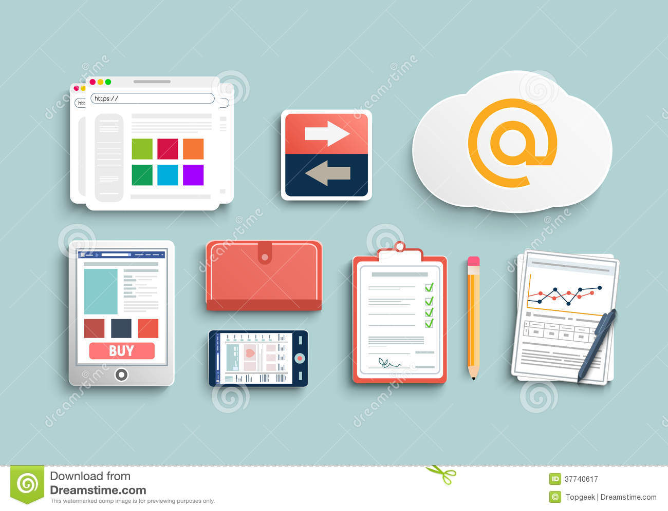 Workplace office and business work elements set royalty free stock photography image 37740617 - Office for mobile devices ...