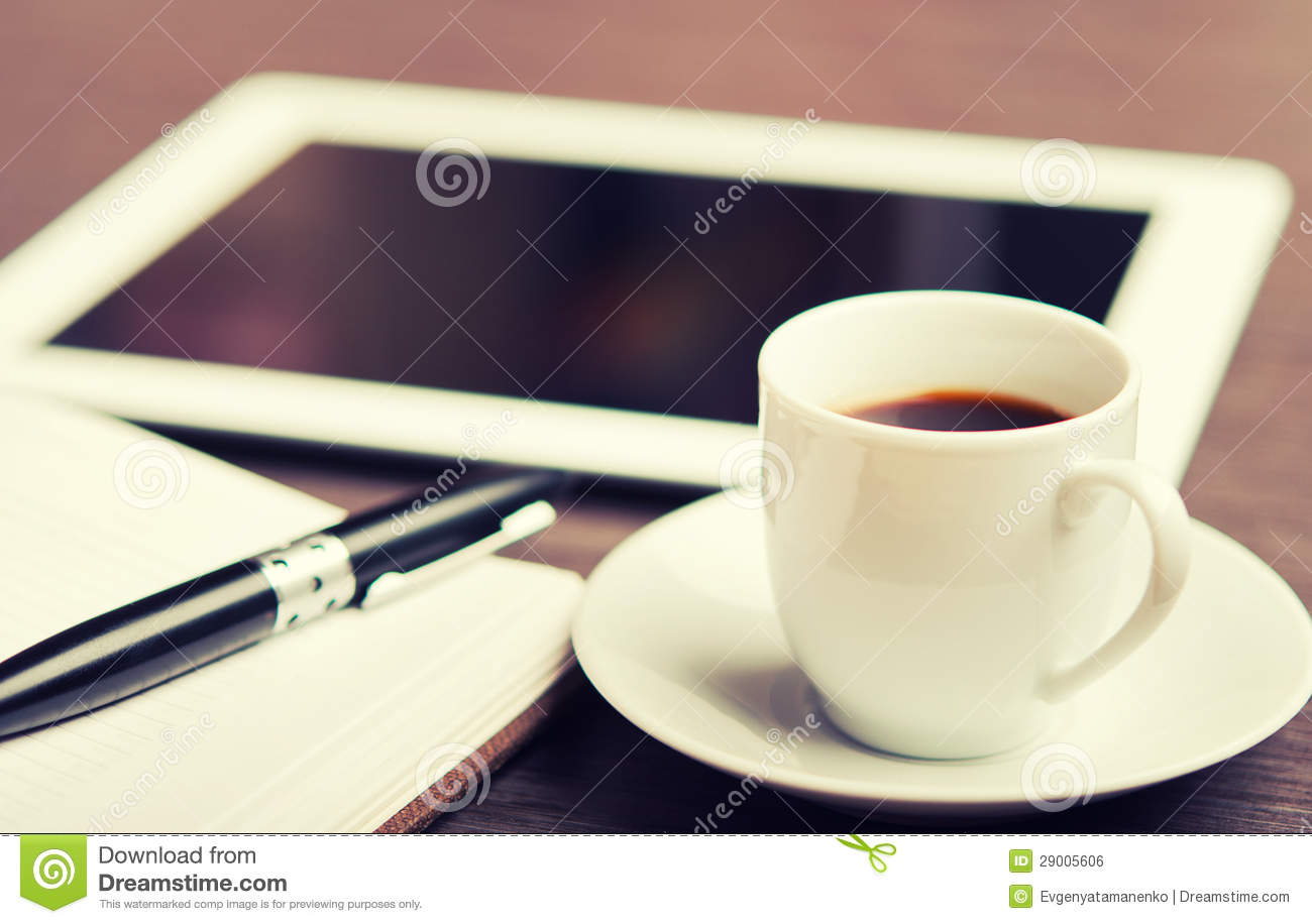 Workplace, Office Desk: Coffee And Tablet Pc And Notebook ...