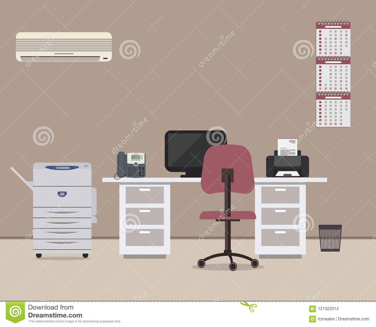 Workplace Of Office Worker With A White Desk Purple Chair Copy Machine