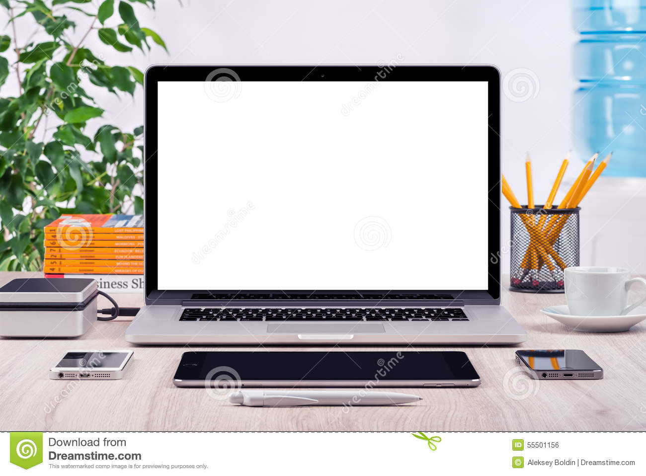 Workplace With Open Laptop Mockup Different Gadgets Stock