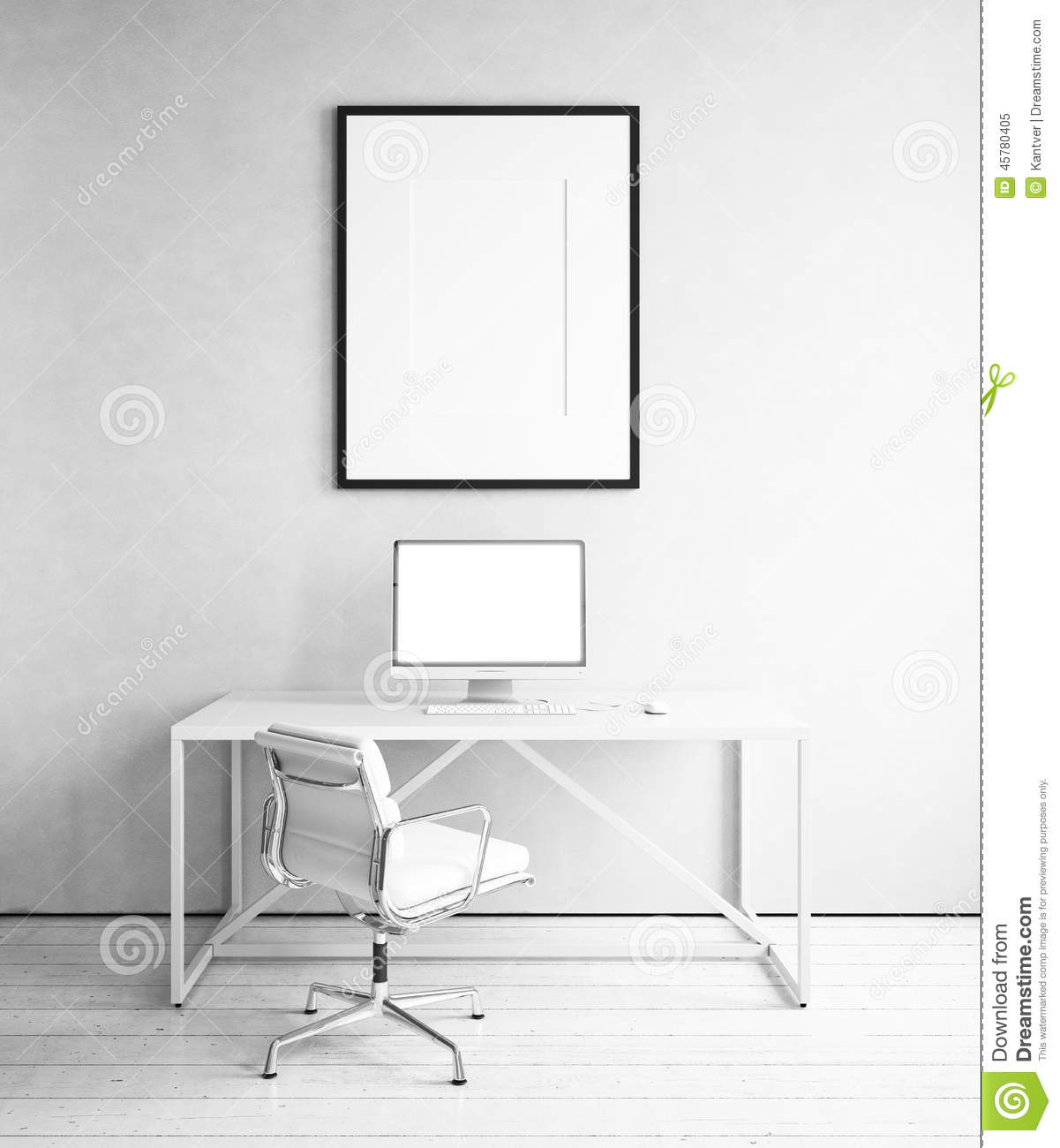 workplace with picture template in white room stock photo image 45780405. Black Bedroom Furniture Sets. Home Design Ideas
