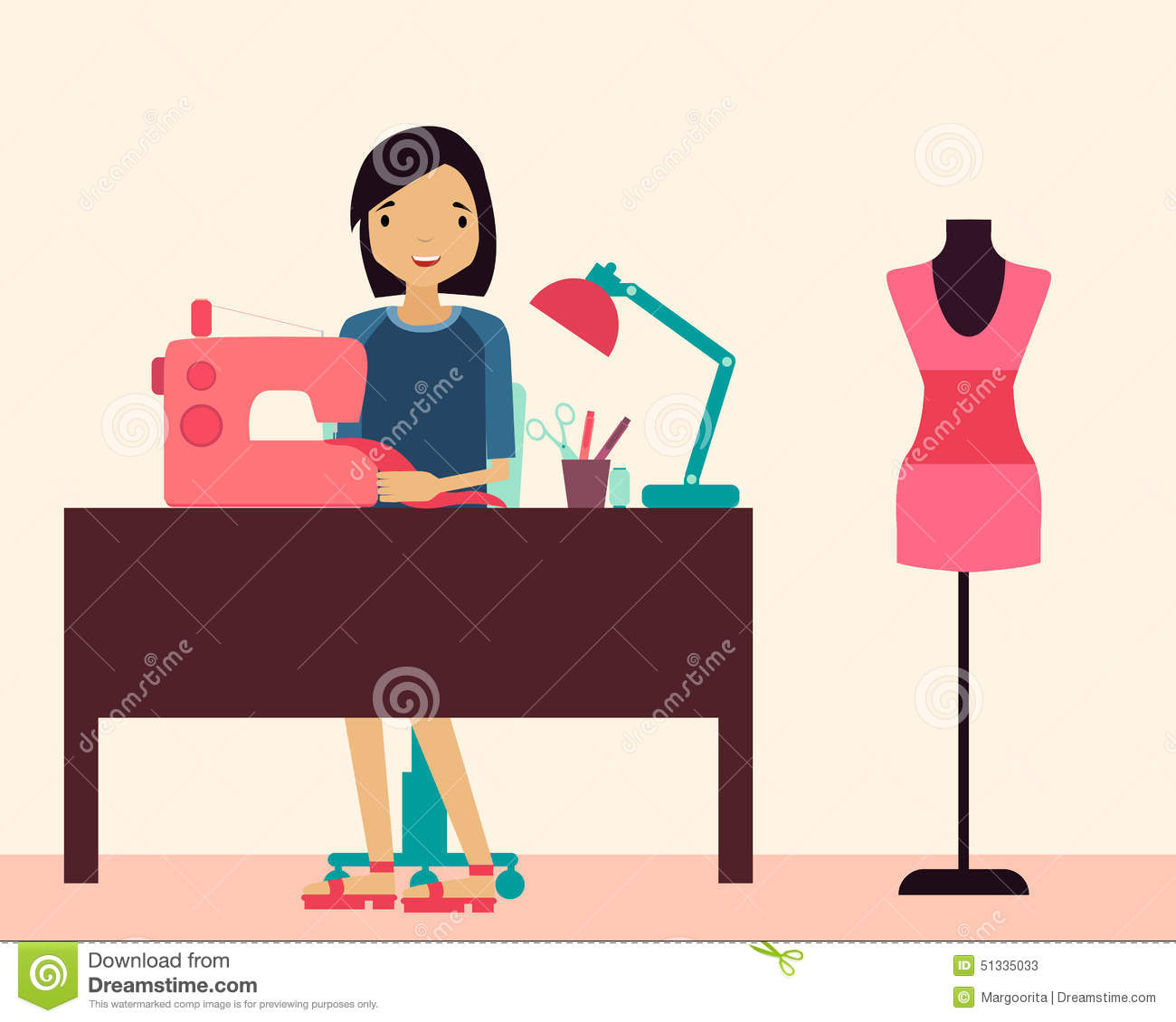 Workplace Seamstress Stock Vector