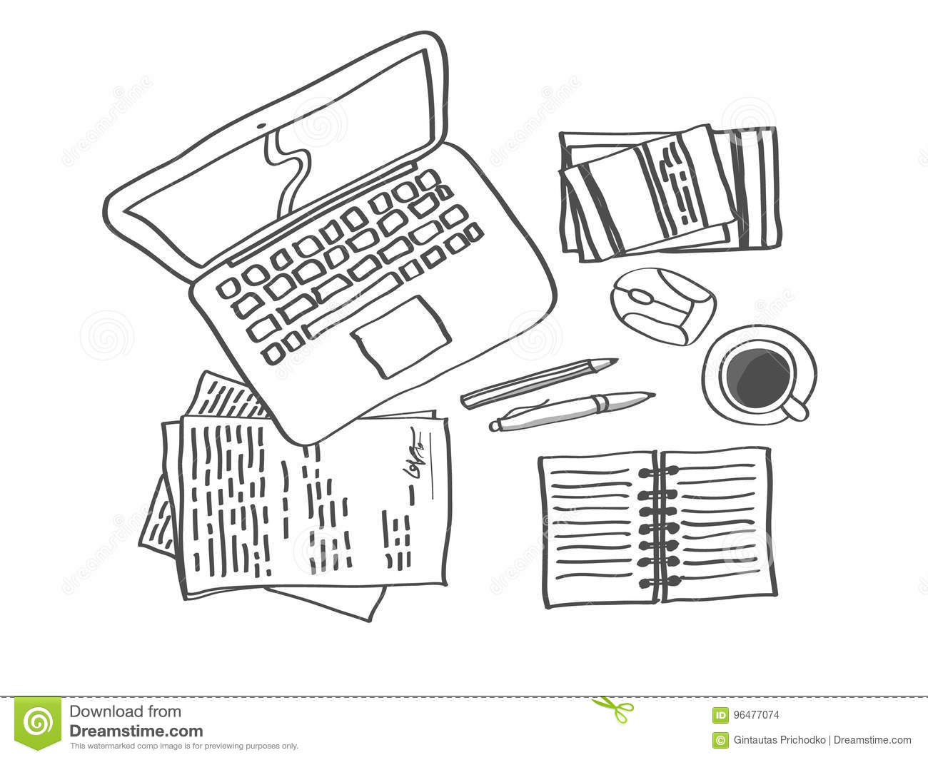 Workplace sketch 1 stock vector illustration of graphic 96477074