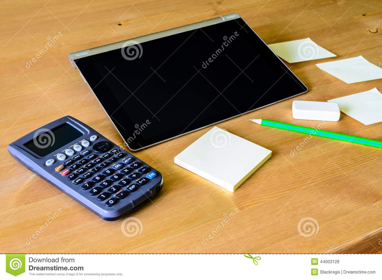 Workplace With Tablet Pc, Calculator, Pencil And Sticky Notes Stock